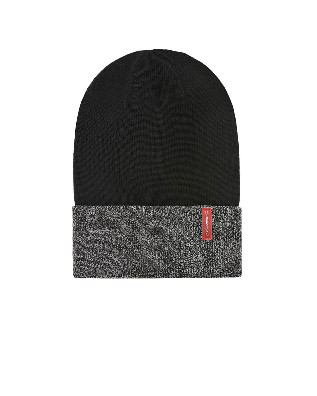 Купить Шерстяная шапка с серым отворотом Il Trenino детская, Черный, 100%шерсть