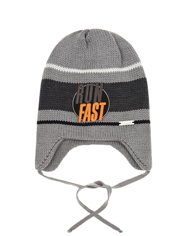 Купить Шерстяная шапка с вышивкой Run Fast Il Trenino детская, Серый, 100%шерсть