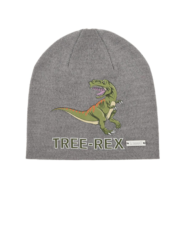 Купить Шерстяная шапка с принтом динозавр Il Trenino детская, Серый, 100%шерсть