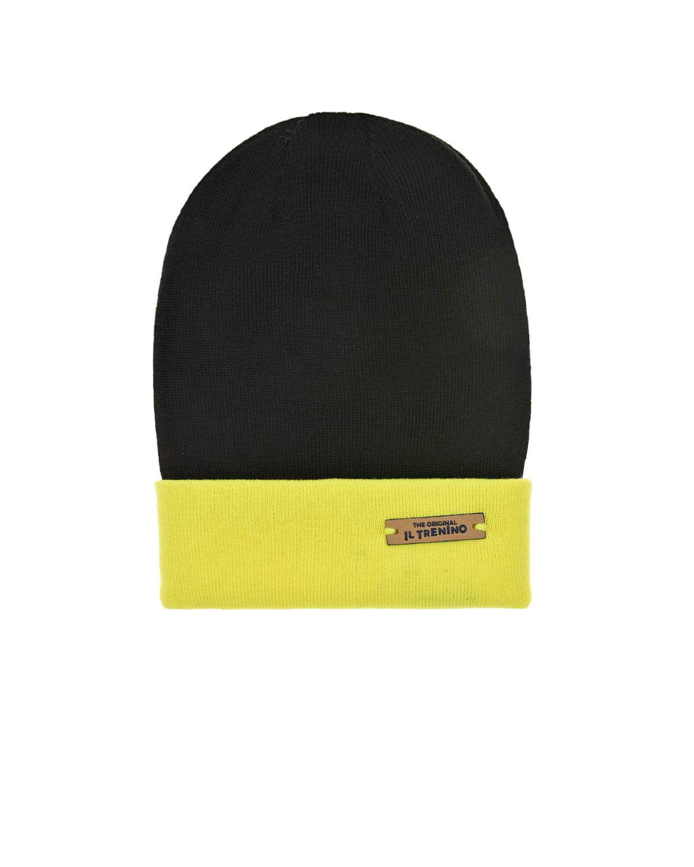 Купить Шерстяная шапка с желтым отворотом Il Trenino детская, Черный, 100%шерсть