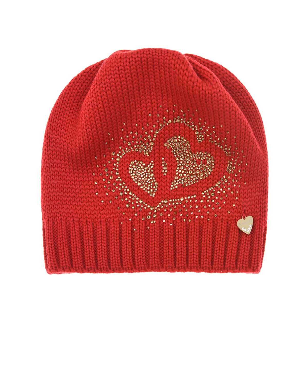 Купить Шерстяная шапка с сердечками из стразов Il Trenino детская, Красный, 100%шерсть