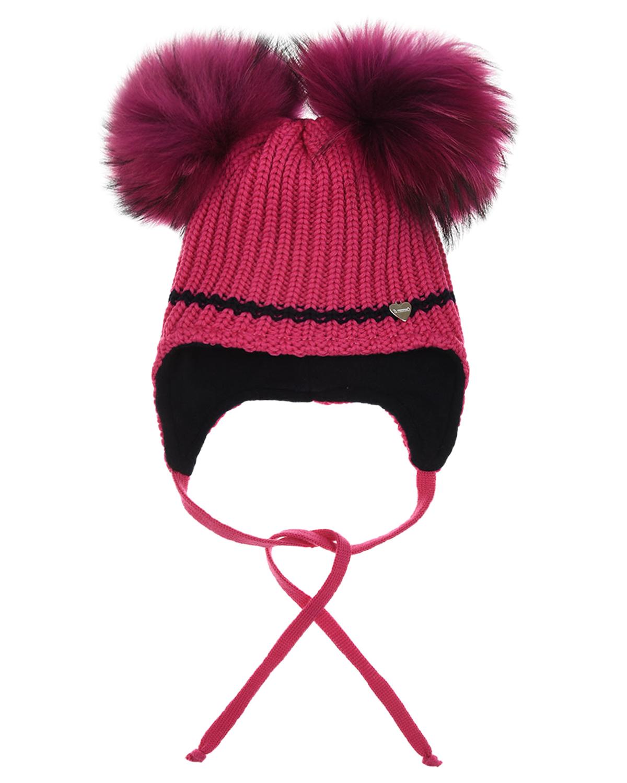 Шерстяная шапка цвета фуксии с меховыми помпонами Il Trenino детская, Розовый, 100%шерсть, 100%полиэстер, нат.мех  - купить со скидкой