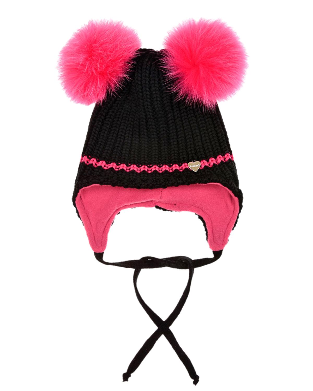 Купить Шапка с розовыми меховыми помпонами Il Trenino детская, Черный, 100%шерсть, 100%полиэстер, нат.мех
