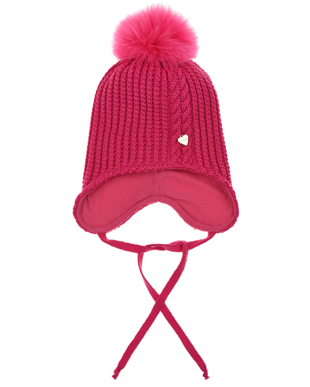Купить Шапка цвета фуксии с меховым помпоном Il Trenino детская, Розовый, 100%шерсть, 100%полиэстер, нат.мех Енота