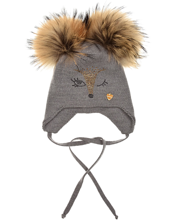 Купить Серая шапка с меховыми помпонами Il Trenino детская, Серый, 100%шерсть, нат.мех
