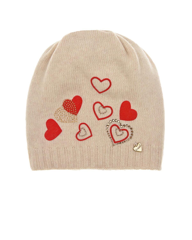 Купить Бежевая шапка из кашемира Il Trenino детская, Бежевый, 30%кашемир+70%шерсть