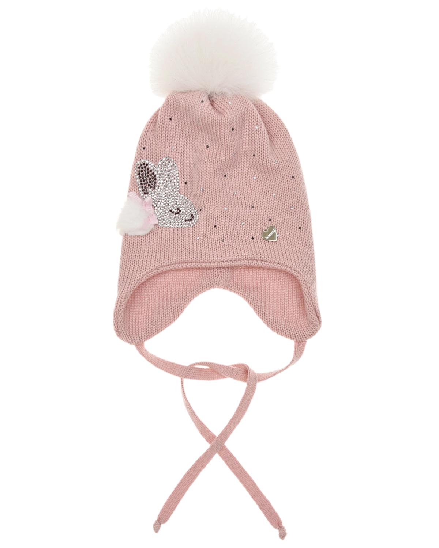 Купить Розовая шапка с меховым помпоном Il Trenino детская, Розовый, 100%шерсть, нат.мех Енота