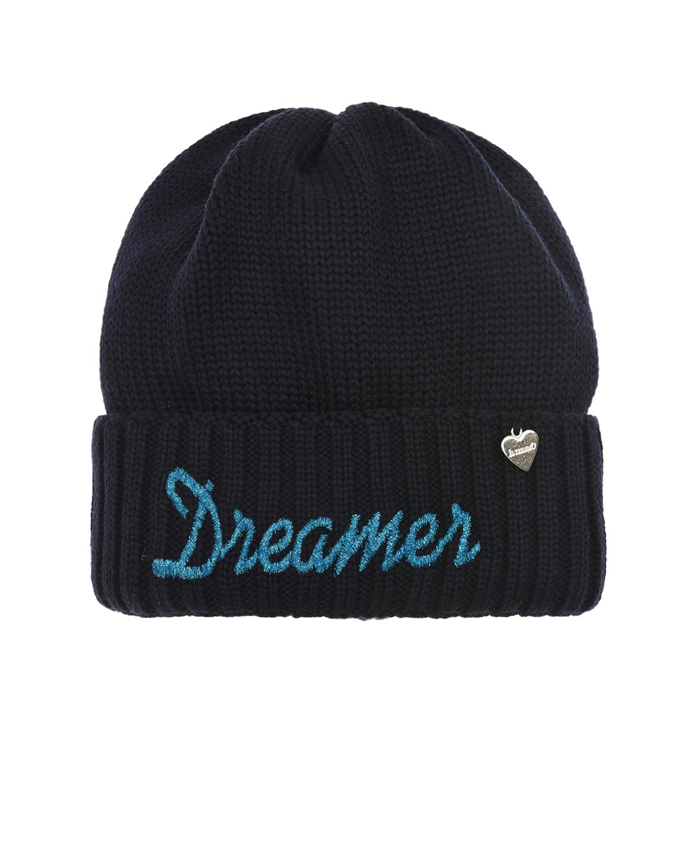 Купить Шапка с надписью Dreamer на отвороте Il Trenino детская, Синий, 100%шерсть, 100%полиэстер