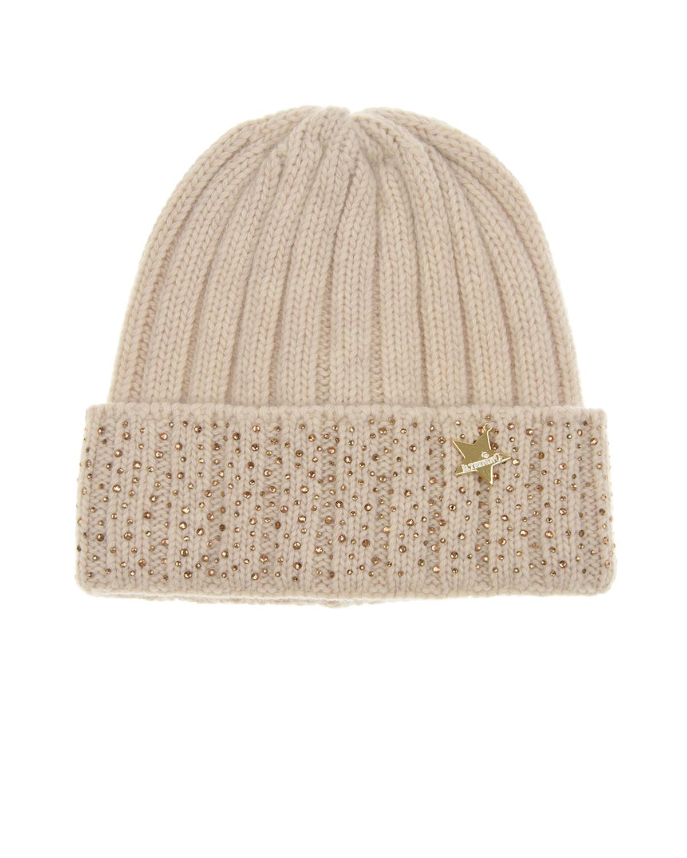 Купить Бежевая шапка из шерсти с подвеской в форме звездочки Il Trenino детская, Бежевый, 30%кашемир+70%шерсть
