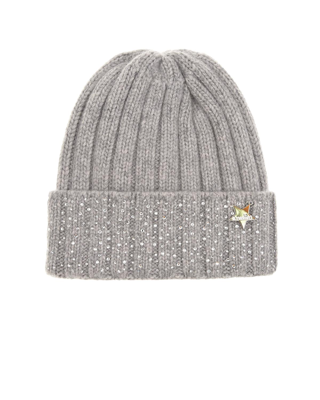 Светло-серая шапка из шерсти и кашемира со стразами Il Trenino детское, Серый, 30%кашемир+70%шерсть  - купить со скидкой