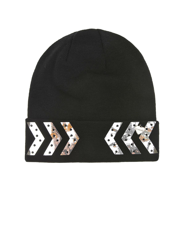 Шерстяная шапка с серебристыми аппликациями Il Trenino детская, Черный, 100%шерсть  - купить со скидкой