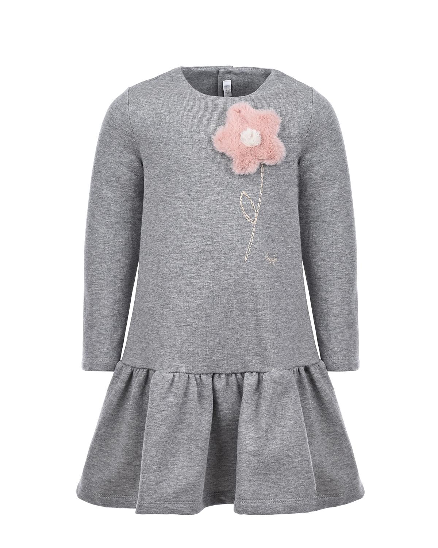 Купить Серое платье с аппликацией из меха IL Gufo детское, Серый, 100%хлопок, 100%полиэстер