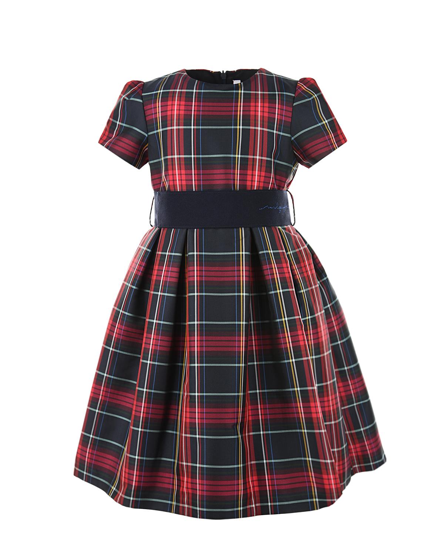 Купить Платье в клетку IL Gufo детское, Мультиколор, 100%полиэстер, 58%ацетат+42%вискоза, 100%полиамид, 100%шерсть