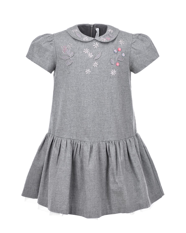 Серое платье с вышивкой IL Gufo детское, Серый, 100%хлопок, 100%полиамид  - купить со скидкой
