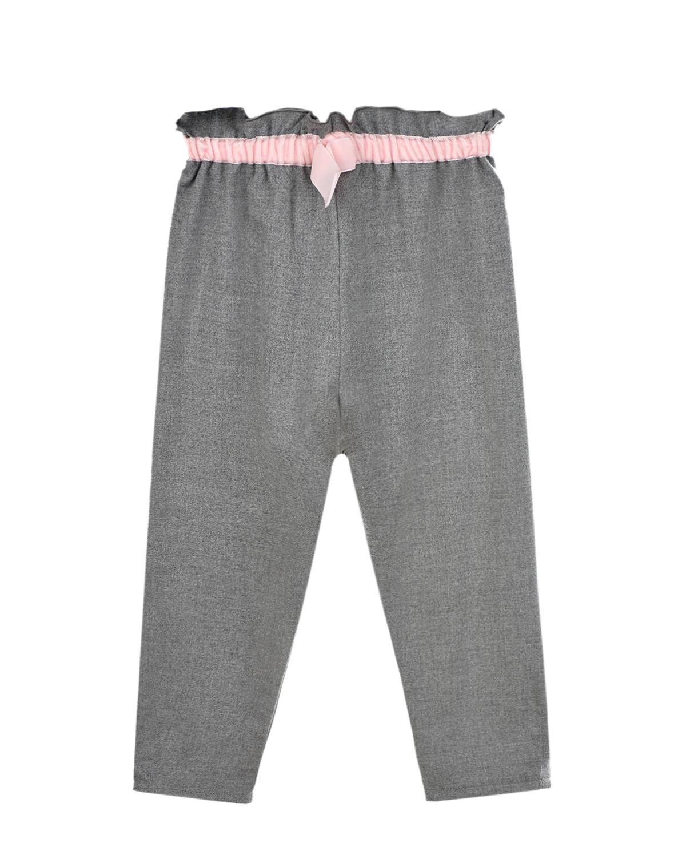 Купить Серые брюки с розовым поясом IL Gufo детские, Серый, 69%полиэстер+29%вискоза+2%эластан, 100%хлопок, 100%полиамид