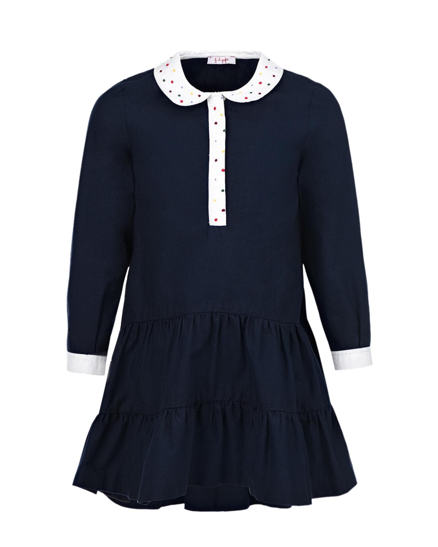 Купить Синее платье с бусинами на воротнике IL Gufo детское, Синий, 100%хлопок