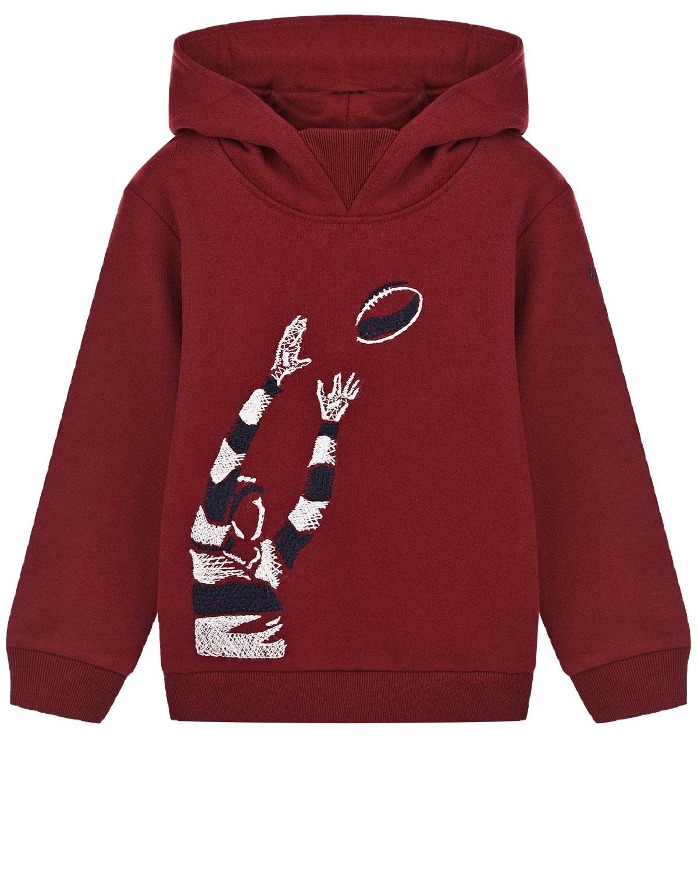 Купить Толстовка-худи с вышивкой американский футбол IL Gufo детская, Красный, 100%хлопок