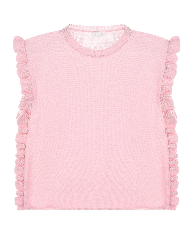 Купить Розовый жилет с рюшами IL Gufo детский, 100%шерсть