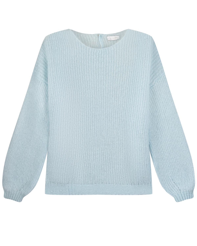 Купить Голубой джемпер с объемными рукавами IL Gufo детский, 50%мохер+32%полиамид+18%шерсть