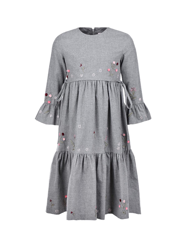 Купить Серое платье с рукавом 3/4 IL Gufo детское, Серый, 100%хлопок
