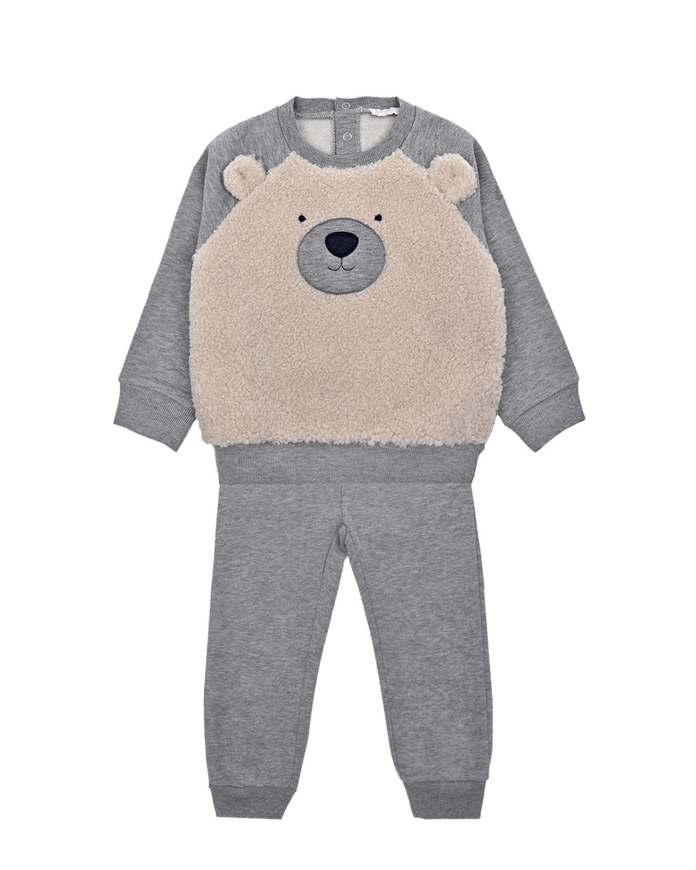 Купить Комплект из свитшота и брюк с декором мишка IL Gufo детский, Серый, 100%хлопок, 100%полиэстер