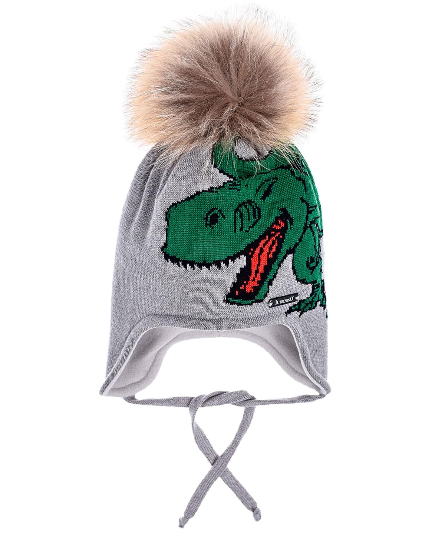 Купить Серая шапка с декором динозавр Il Trenino детская, Серый, 100%шерсть, 100%полиэстер, натур.мех Енота