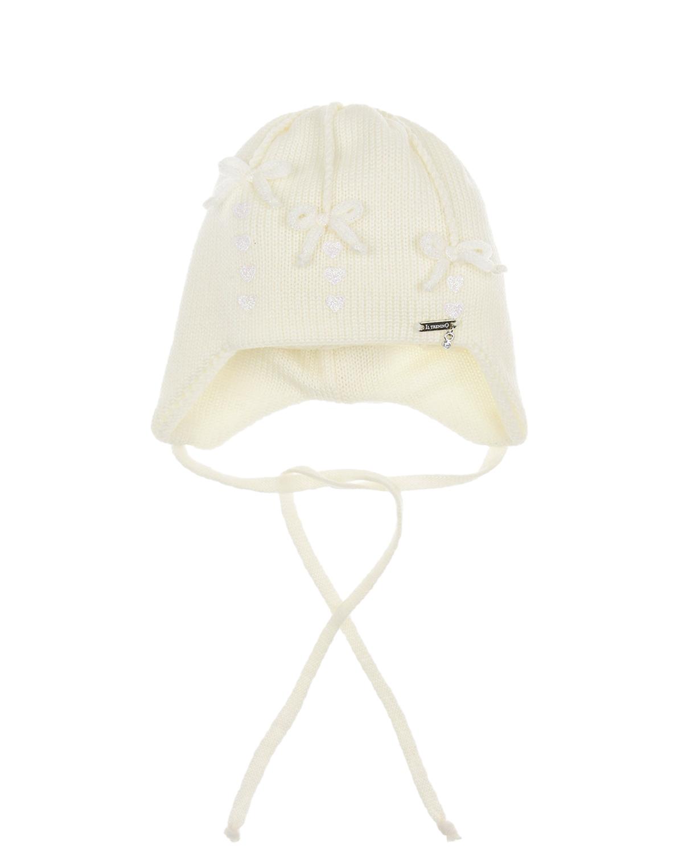 Купить Шерстяная шапка с вязаными бантиками Il Trenino детская, Кремовый, 100%шерсть