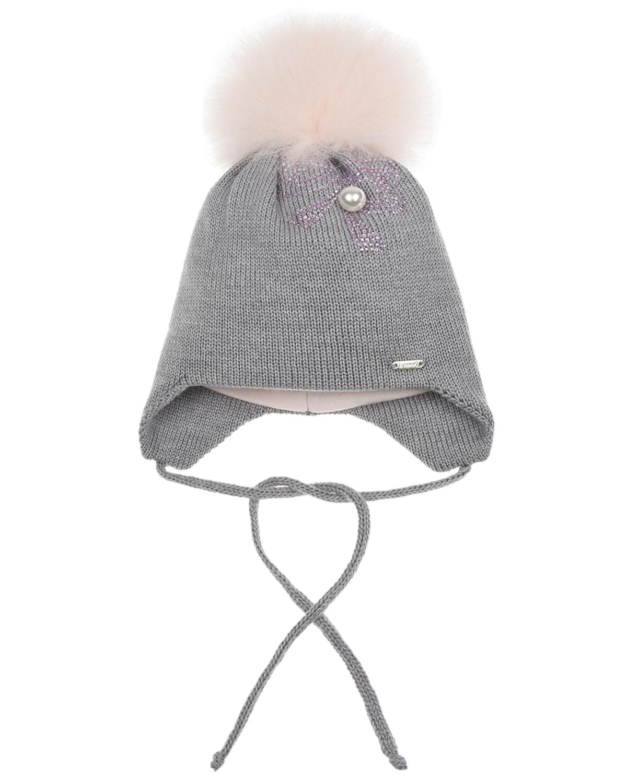 Купить Шерстяная шапка с бантиком из страз и бусиной Il Trenino детская, Серый, 100%шерсть, 100%хлопок, нат.мех