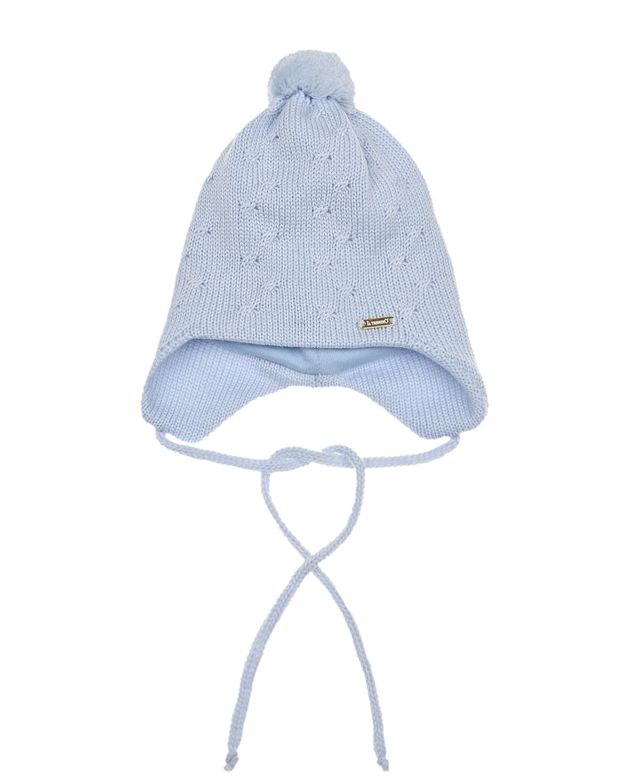 Купить Голубая шапка с завязками Il Trenino детская, Голубой, 100%шерсть. 100%хлопок