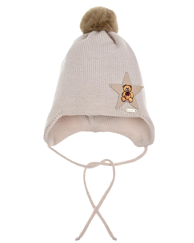 Купить Бежевая шапка из шерсти Il Trenino детская, Бежевый, 100%шерсть, нат.мех