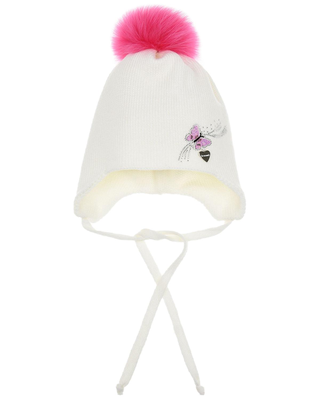 Купить Шерстяная шапка с розовым помпоном из меха Il Trenino детская, Белый, 100%шерсть, нат.мех