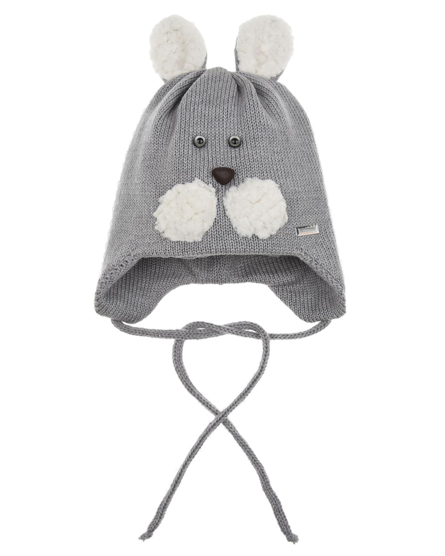 Купить Шерстяная шапка с декором зайка Il Trenino детская, Серый, 100%шерсть