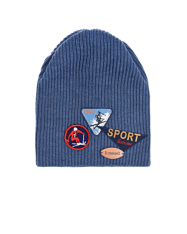 Купить Шерстяная шапка с нашивками Il Trenino детская, Синий, 100%шерсть