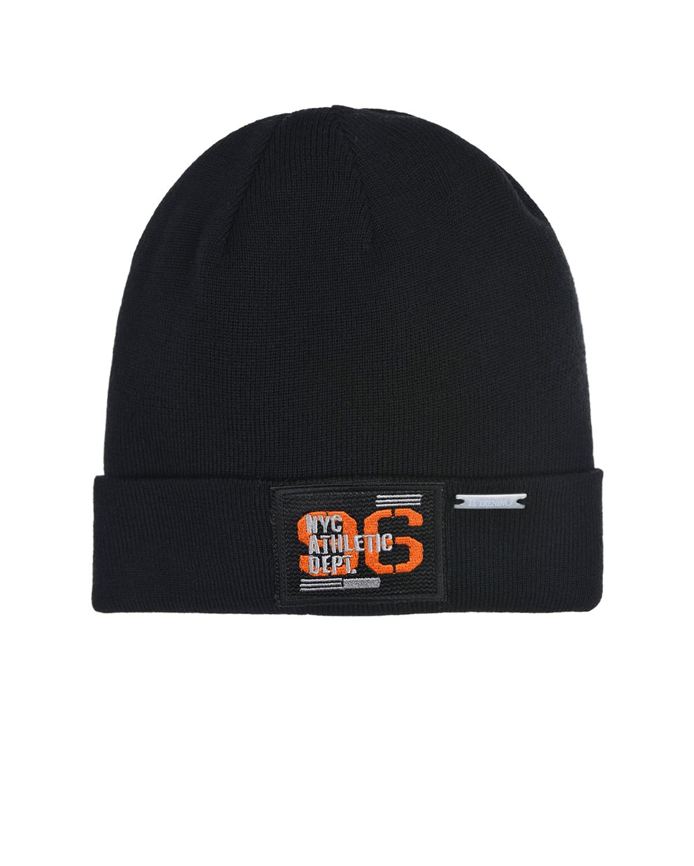 Купить Шерстяная шапка с номерным патчем Il Trenino детская, Черный, 100%шерсть