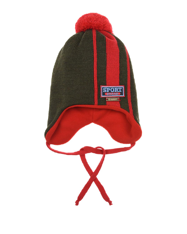 Купить Шерстяная шапка с патчем sport brand Il Trenino детская, Хаки, 100%шерсть, 100%полиэстер