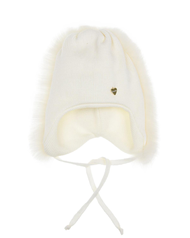 Купить Шерстяная шапка с меховой опушкой Il Trenino детская, Белый, 100%шерсть, нат.мех