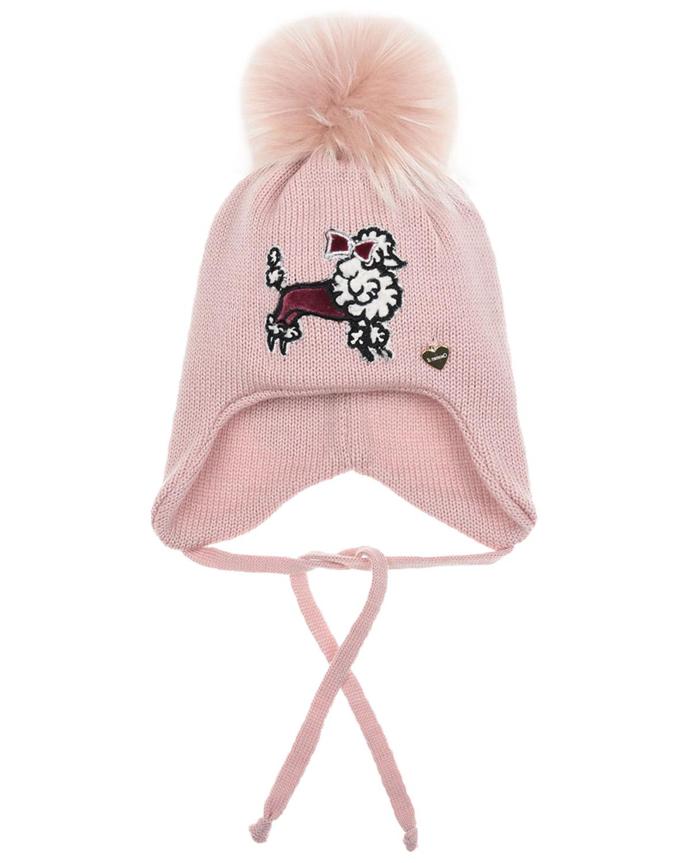 Купить Розовая шапка из шерсти с патчем пудель Il Trenino детская, Розовый, 100%шерсть, нат.мех