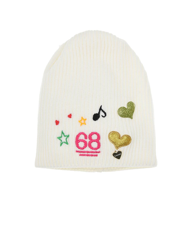 Купить Белая шерстяная шапка с сердечками Il Trenino детская, Белый, 100%шерсть