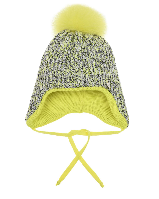 Купить Шерстяная шапка с желтым меховым помпоном Il Trenino детская, Желтый, 100%шерсть, нат.мех