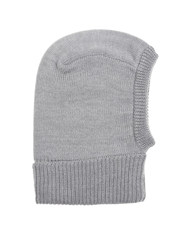 Купить Шерстяная шапка-шлем с принтом сноубордист Il Trenino детская, Серый, 100%шерсть