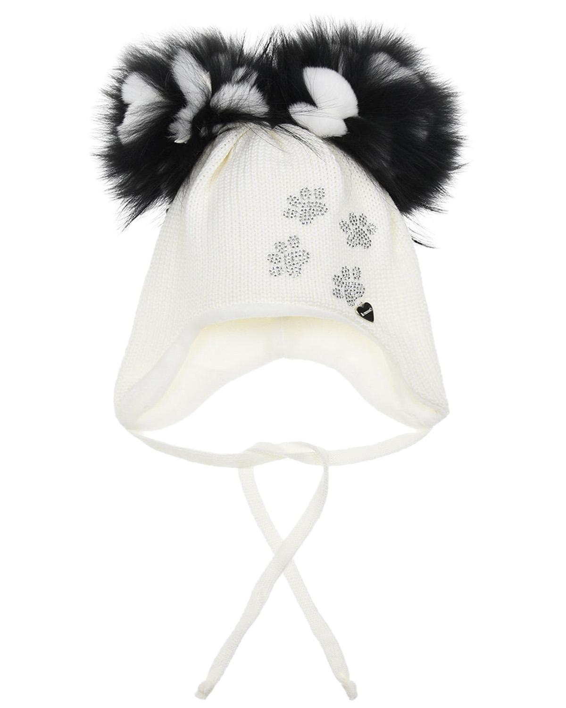 Купить Шерстяная шапка с декором из страз в форме следов Il Trenino детская, Белый, 100%шерсть, 100%полиэстер, нат.мех