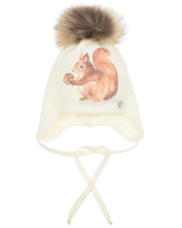 Купить Шерстяная шапка с принтом белочка Il Trenino детская, Кремовый, 100%шерсть, нат.мех