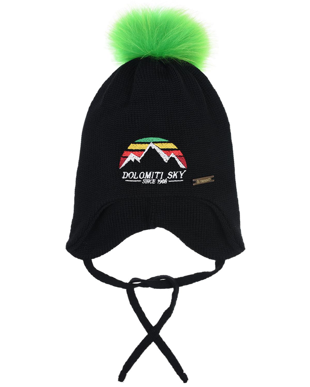 Купить Шерстяная шапка с вышивкой горы Il Trenino детская, Черный, 100%шерсть, нат.мех