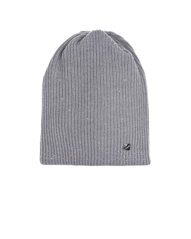 Купить Серая шапка из шерсти с декором из страз Il Trenino детская, Серый, 100%шерсть