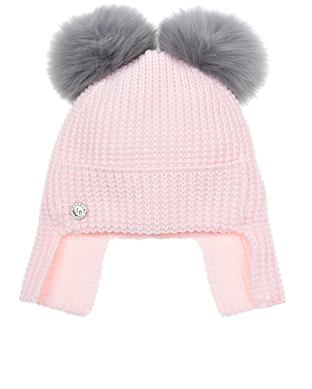 Купить Розовая шапка с двумя помпонами Joli Bebe детская, Розовый, 100%шерсть, 100%натуральный мех