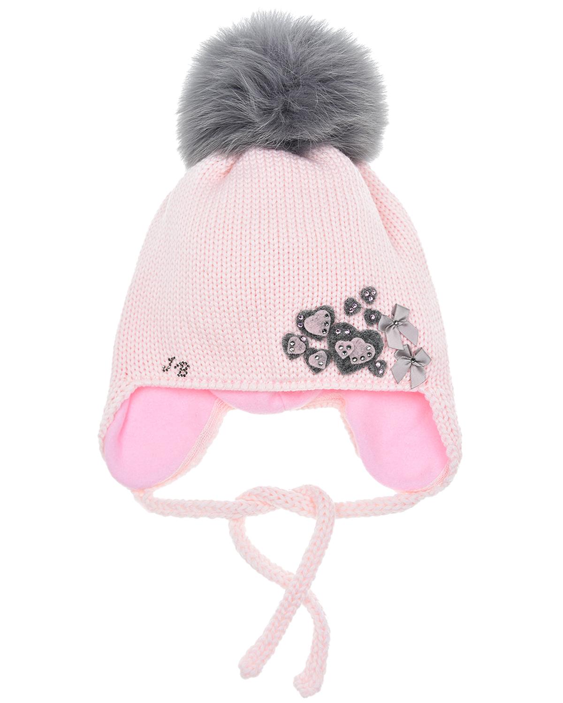 Купить Розовая шапка из шерсти со стразами Joli Bebe детская, Розовый, 100%шерсть, 100%натуральный мех