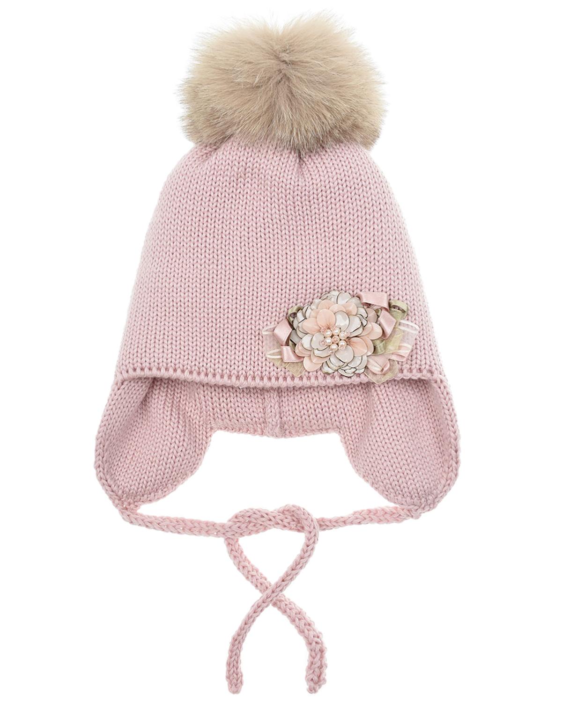 Купить Шерстяная шапка с цветочным декором Joli Bebe детская, Розовый, 100%шерсть, 100%полиэстер, 100%натуральный мех