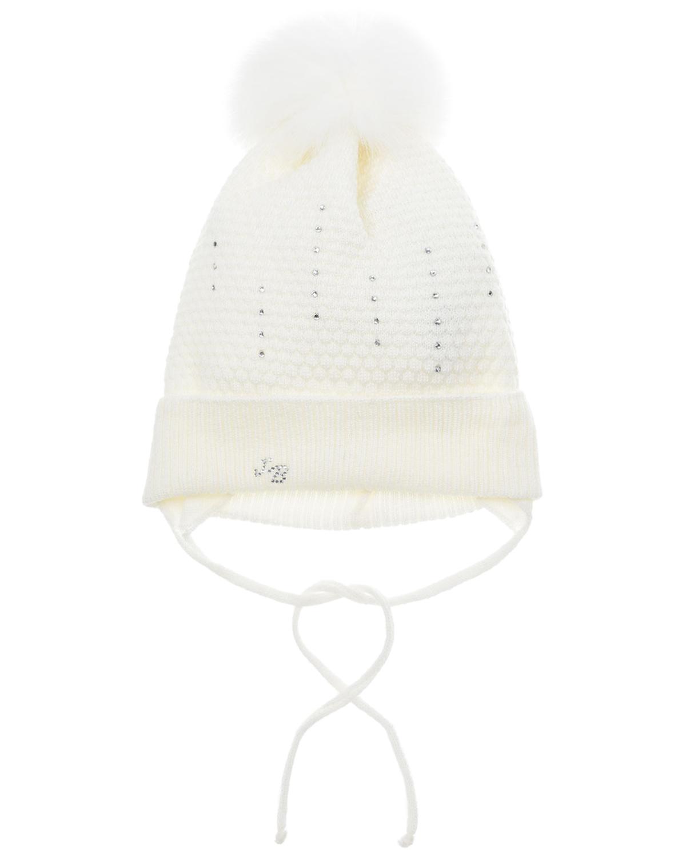 Купить Шерстяная шапка с полосками из страз Joli Bebe детская, Белый, 100%шерсть, 100%натуральный мех