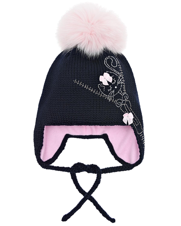 Купить Синяя шапка со стразами Joli Bebe детская, Синий, 100%шерсть, 100%хлопок, 100%натуральный мех