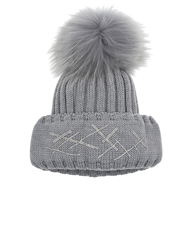 Купить Серая шапка с декором из страз Joli Bebe детская, Серый, 100%шерсть, 100%натуральный мех